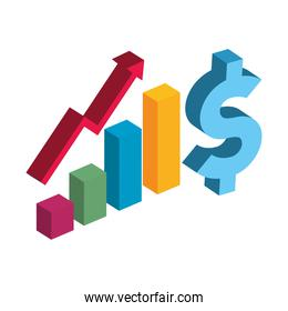 bars chart with increase arrow and dollar icon 3d vector design