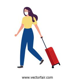 New normal of woman with mask and travel bag vector design