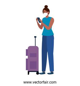 New normal of black woman with mask and travel bag and smartphone vector design