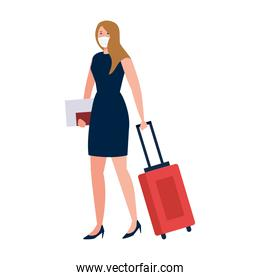 New normal of woman with mask travel bag and passport vector design