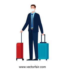 New normal of man with mask and travel bags vector design