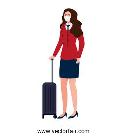 New normal of stewardess woman with mask and travel bag vector design
