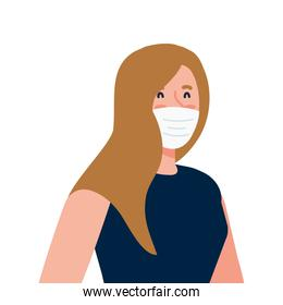 New normal of woman with mask vector design