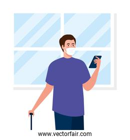 New normal of man with mask and travel bag and smartphone vector design