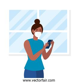 New normal of woman with mask and smartphone in front of window vector design