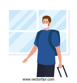 New normal of man with mask and travel bags in front of window vector design