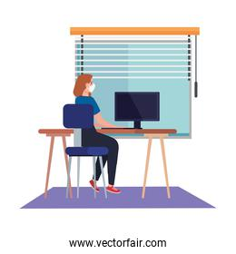 New normal of woman with mask at desk in front of window vector design