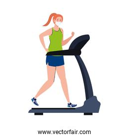 New normal of woman with mask running on treadmill vector design