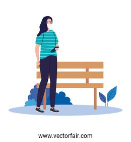 New normal of woman with mask smartphone and bench vector design