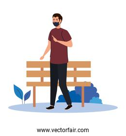 New normal of man with mask and bench vector design