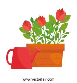 Gardening flowers pot and watering can vector design