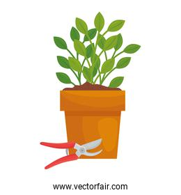 Gardening pliers and plant inside pot vector design