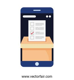 vote paper on box in smartphone vector design