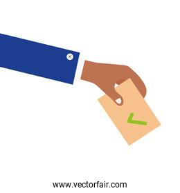 hand holding vote card paper vector design