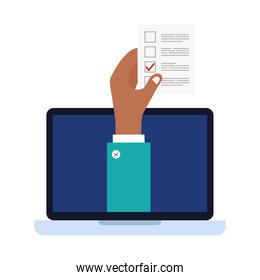 hand holding vote paper on laptop vector design