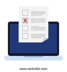 Vote paper in front of laptop isolated icon