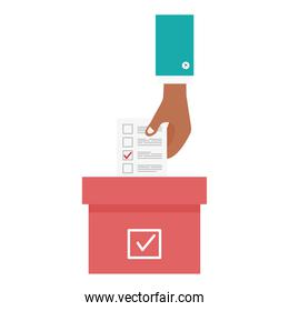 hand holding vote paper and box vector design