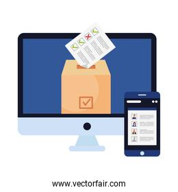 vote paper on box in computer and smartphone vector design
