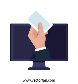 hand holding vote card paper on computer vector design
