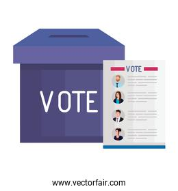vote paper and box vector design