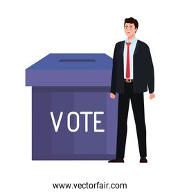 vote box and man vector