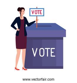 vote box and woman with banner vector design