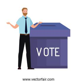vote box and man vector design