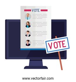 vote paper in front of computer with banner vector design