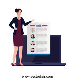 Vote paper and woman on laptop vector design