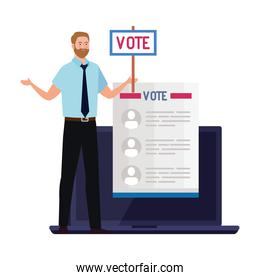 Vote paper and man with banner on laptop vector design