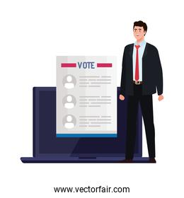 Vote paper and man on laptop vector design