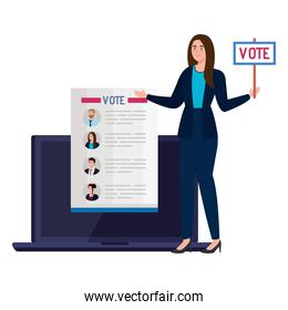 Vote paper and woman with banner on laptop vector design