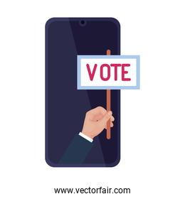 hand holding vote banner on smartphone vector design