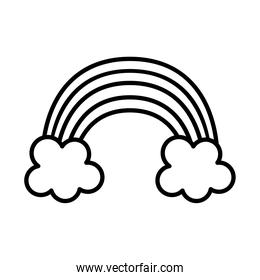 rainbow sticker and line style iconvector design