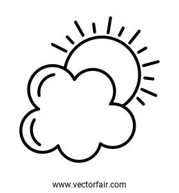 sun and cloud sticker and line style icon vector design