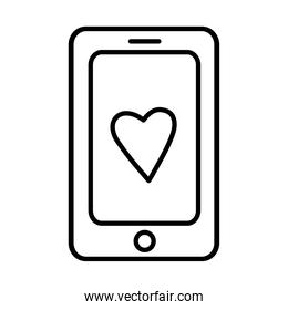 smartphone with heart sticker and line style icon vector design