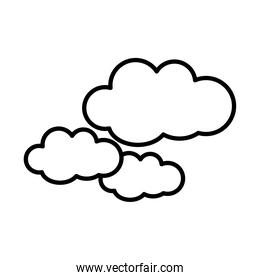 clouds sticker and line style icon vector design
