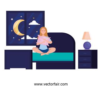 woman on bed with insomnia vector illustration