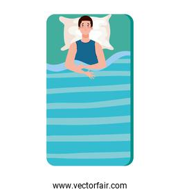 man on bed with insomnia vector design