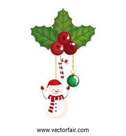 merry christmas snowman with berries hanging vector design