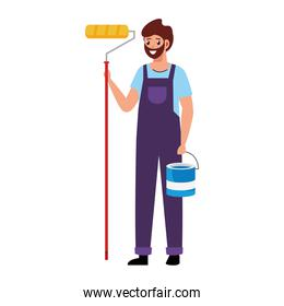 painter man with bucket and roll vector design