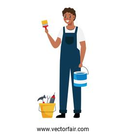 painter man with bucket and brush vector illustration