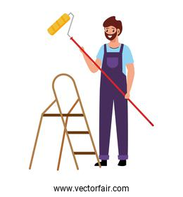 painter man with roll and ladder vector design