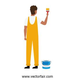 painter man with bucket and brush vector design
