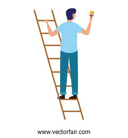painter man with brush and ladder vector design