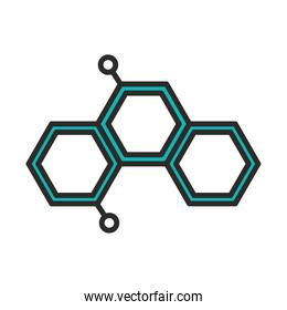 vaccine research science molecule chemistry line and fill icon