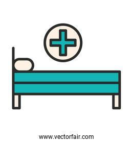 hospital bed with pillow healthcare equipment line and fill icon
