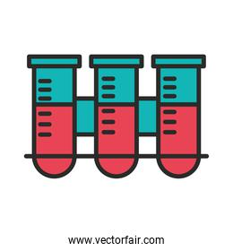 vaccine research science test tube on rack chemistry line and fill icon
