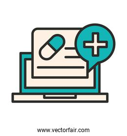 vaccine research science laptop medical discovery line and fill icon