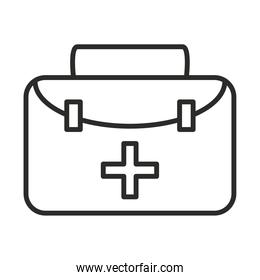 vaccine research science medical suitcase aid line icon